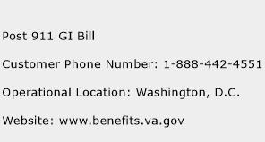 Post 911 GI Bill Phone Number Customer Service
