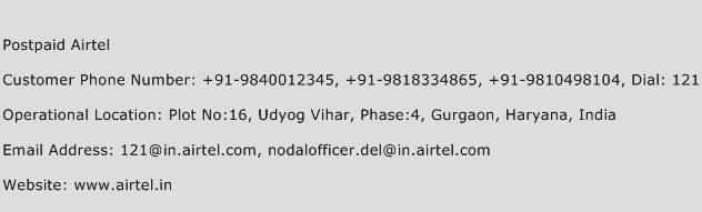 Postpaid Airtel Phone Number Customer Service
