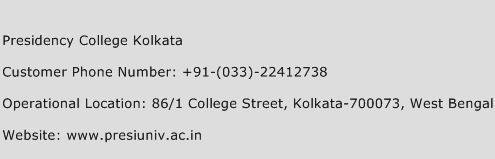 Presidency College Kolkata Phone Number Customer Service