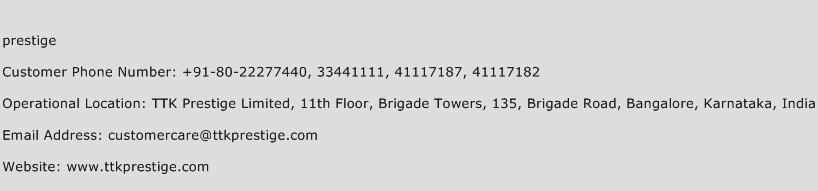 Prestige Phone Number Customer Service