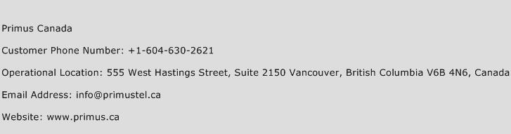 Primus Canada Phone Number Customer Service