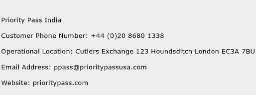 Priority Pass India Phone Number Customer Service