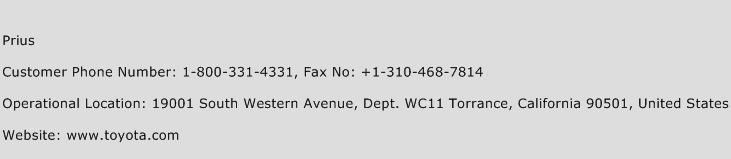 Prius Phone Number Customer Service