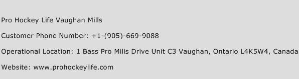 Pro Hockey Life Vaughan Mills Phone Number Customer Service