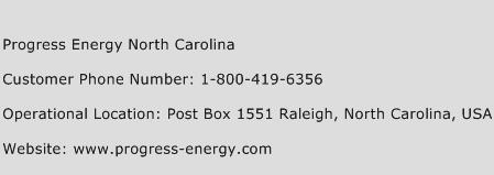 Progress Energy North Carolina Phone Number Customer Service