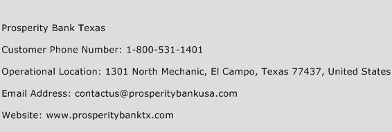 Prosperity Bank Texas Phone Number Customer Service
