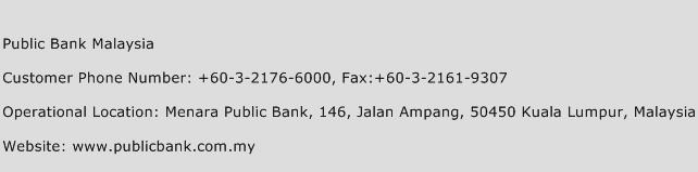 Public Bank Malaysia Phone Number Customer Service