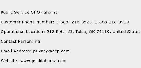 Public Service Of Oklahoma Phone Number Customer Service
