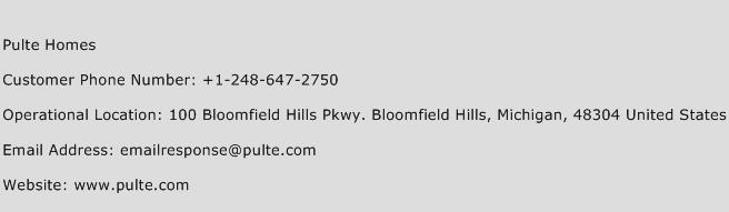 Pulte Homes Phone Number Customer Service