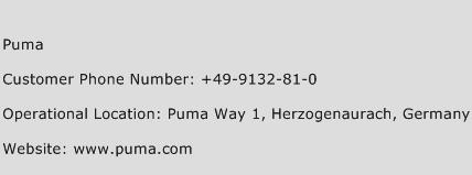 Puma Phone Number Customer Service