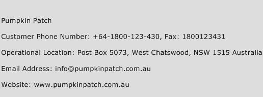 Pumpkin Patch Phone Number Customer Service