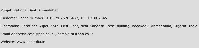 Punjab National Bank Ahmedabad Phone Number Customer Service