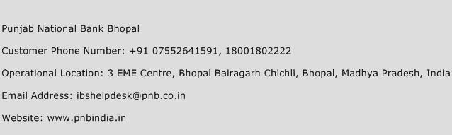 Punjab National Bank Bhopal Phone Number Customer Service
