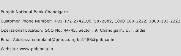 Punjab National Bank Chandigarh Phone Number Customer Service