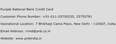 Punjab National Bank Credit Card Phone Number Customer Service