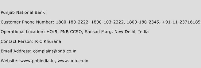 Punjab National Bank Phone Number Customer Service