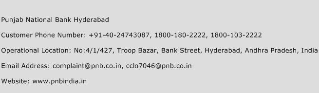 Punjab National Bank Hyderabad Phone Number Customer Service