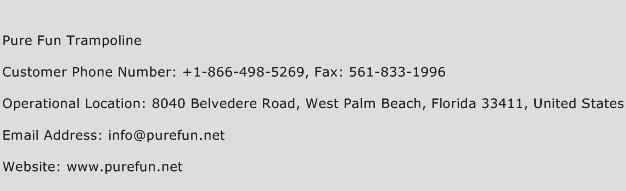 Pure Fun Trampoline Phone Number Customer Service