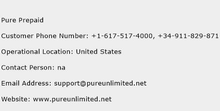 Pure Prepaid Phone Number Customer Service