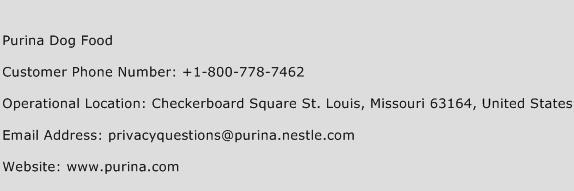Purina Dog Food Phone Number Customer Service