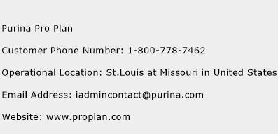 Purina Pro Plan Phone Number Customer Service