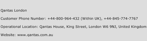 Qantas London Phone Number Customer Service