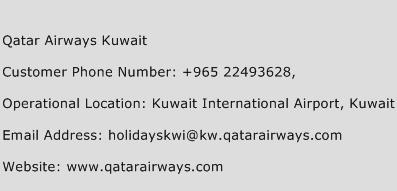 Qatar Airways Kuwait Phone Number Customer Service