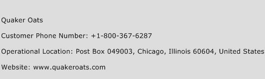 Quaker Oats Phone Number Customer Service