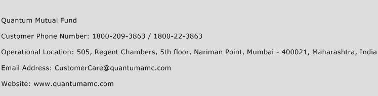 Quantum Mutual Fund Phone Number Customer Service