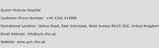 Queen Victoria Hospital Phone Number Customer Service