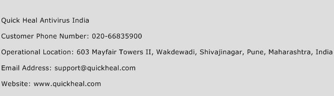 Quick Heal Antivirus India Phone Number Customer Service