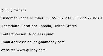 Quinny Canada Phone Number Customer Service