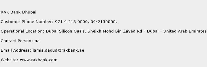 RAK Bank Dhubai Phone Number Customer Service