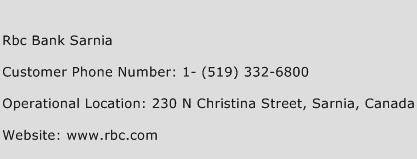 RBC Bank Sarnia Phone Number Customer Service