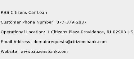 RBS Citizens Car Loan Phone Number Customer Service