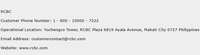 RCBC Phone Number Customer Service