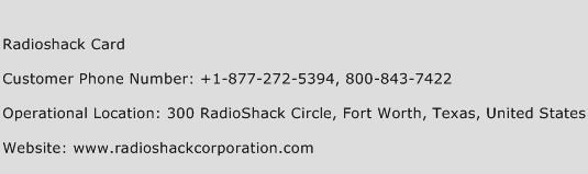Radioshack Card Phone Number Customer Service
