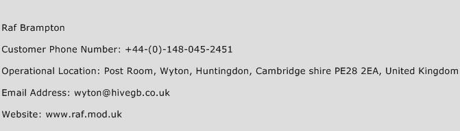 Raf Brampton Phone Number Customer Service