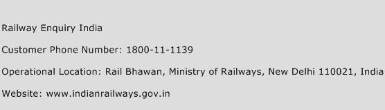 Railway Enquiry India Phone Number Customer Service