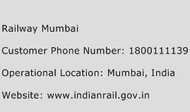 Railway Mumbai Phone Number Customer Service