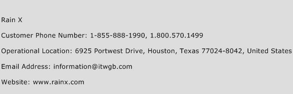 Rain X Phone Number Customer Service