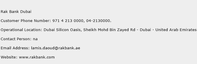 Rak Bank Dubai Phone Number Customer Service