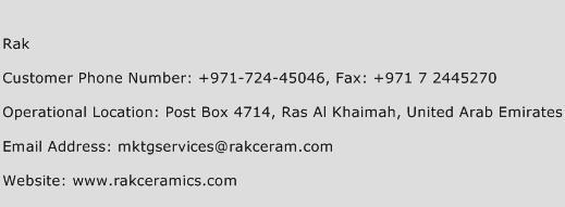 Rak Phone Number Customer Service