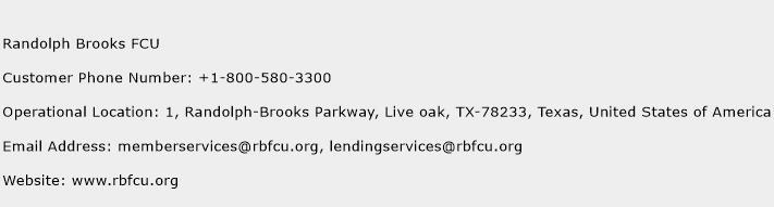 Randolph Brooks FCU Phone Number Customer Service