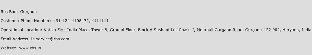 Rbs Bank Gurgaon Phone Number Customer Service