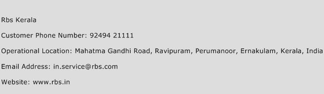 Rbs Kerala Phone Number Customer Service