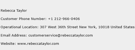 Rebecca Taylor Phone Number Customer Service