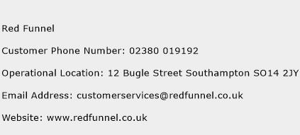Red Funnel Phone Number Customer Service