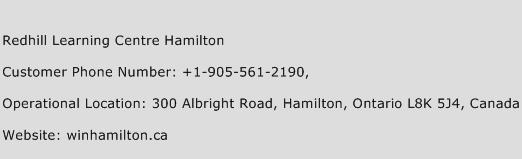 Redhill Learning Centre Hamilton Phone Number Customer Service