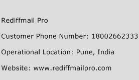 Rediffmail Pro Phone Number Customer Service
